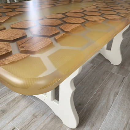 Honey and Honeycomb Dining Table made by Mindava using GlassCast 50 Clear Epoxy Casting Resin